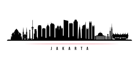 Jakarta city skyline horizontal banner. Black and white silhouette of Jakarta city, Indonesia. Vector template for your design. Papier Peint