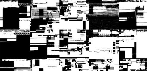 Abstract vector background. Screen error effect. Strokes cut out Irregular geometric patterns. Glitch background. Geometric pattern. Halftone elements.