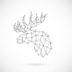 Geometric Moose silhouette. Image of Moose in the form of constellation. Vector illustration.