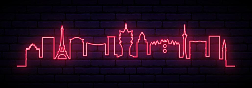 Pink neon skyline of Macau city. Bright Macau long banner. Vector illustration.