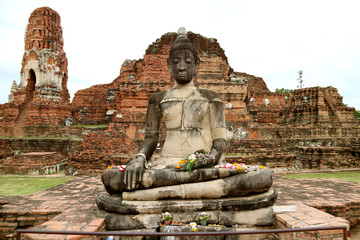 Buddha image in Wat Mahathat or The temple of the Great Relic in Ayutthaya Historical Park, Ayutthaya, Thailand