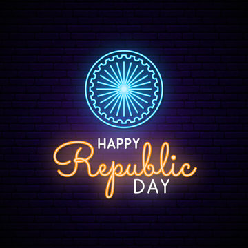 Happy India Republic Day neon design. Vector light signboard.