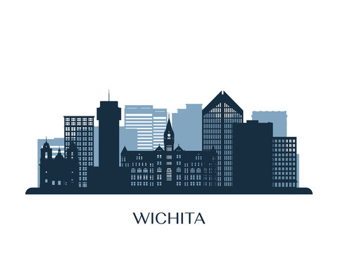 Wichita skyline, monochrome silhouette. Vector illustration.