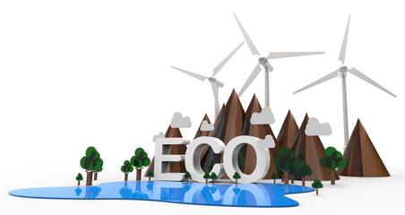 ECO Nature landscape, Renewable energy. 3D Illustration