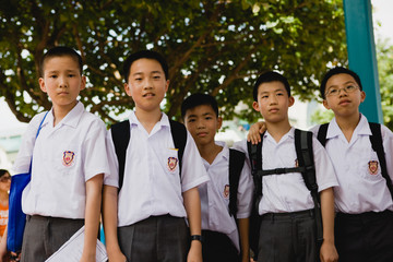 Portrait of a group of schoolboys.