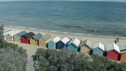 Brighton Beach's Beach Boxes, aerial panoramic view in winter