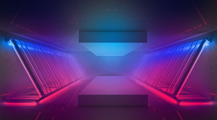 Neon background, rays and highlights, metal construction illuminated with blue and pink neon. Abstract empty scene background. 3D Rendering
