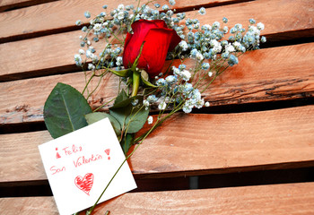 red rose on wooden board with a message of happy, valentines