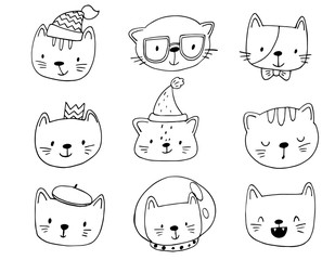 set of cartoon cats in funny clothes and accessories.