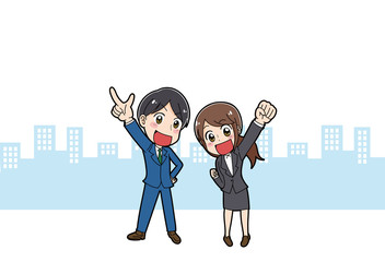 スーツを着た男性と女性のイラスト素材