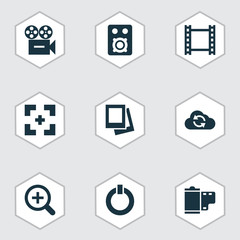 Multimedia icons set with gallery, camera, synchronize and other album  elements. Isolated vector illustration multimedia icons.