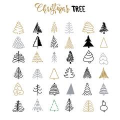 Handdrawn Christmas tree set