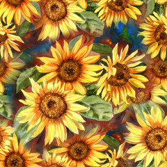Seamless floral pattern with sunflowers. Hand drawn watercolor