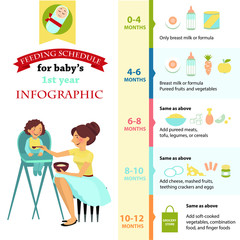Feeding schedule for babies 1 year. Infographic.