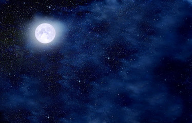Fabulous starry sky, full moon and clouds