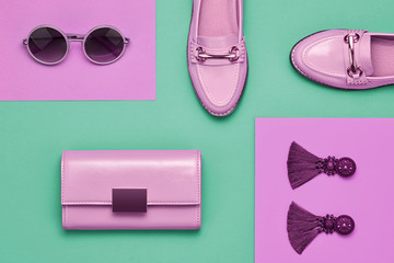 Fashion Design Woman Accessories Set. Pop Art Colors. Trendy Handbag Clutch, Summer Sunglasses, Earrings. Flat lay. Glamor Shiny Shoes. Luxury Minimal Outfit