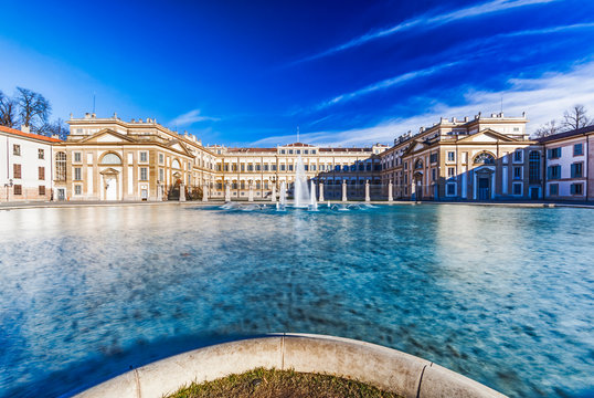 Villa reale in monza city center with fountain