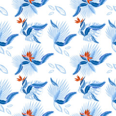 Vector  seamless pattern of tropical  palm leaves, monstera  leaves  and coral flowers of the bird of paradise (Strelitzia) plumeria. Wallpaper trend design.