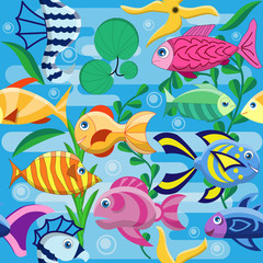 Underwater world. Seamless pattern. Vector illustration.