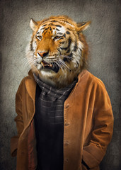 Photo sur Plexiglas Animaux de Hipster Tiger in clothes. Man with a head of an tiger. Concept graphic in vintage style with soft oil painting style.