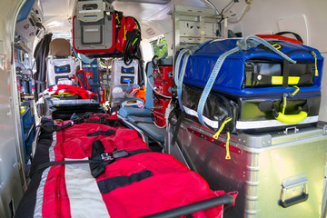Printed roller blinds Helicopter Stretcher and medical equipment in a Emergency medical services helicopter.