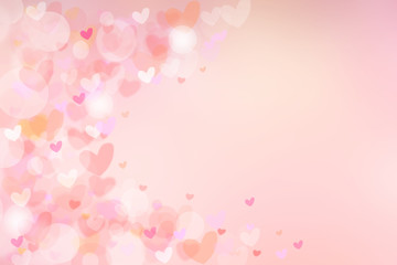 Abstract valentine background. Abtract festive blur bright pink pastel background with colorful hearts for valentine or wedding. Romantic textured backdrop with frame for your design. Card concept.