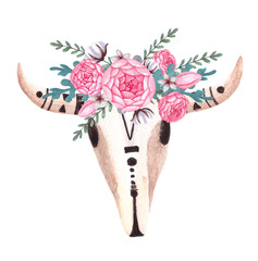 Cow Skull. Skull with flowers. Animal head in boho, tribal or ethnic style.