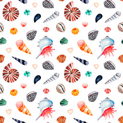 Underwater creatures.Watercolor seamless pattern with multicolored seashells.Perfect for wallpaper,print,packaging,invitations,packaging,cover design,travel.