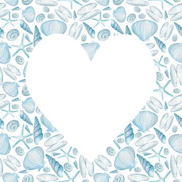 heart on the background of seashells