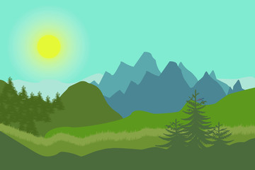 Foto op Plexiglas Groene koraal Nature landscape in flat style. Vector landscape. Mountains. Vector illustration.
