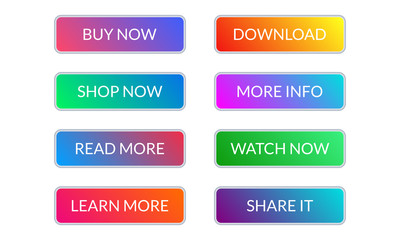 Call to action button set. Colorful gradient buttons for web design. Vector illustration.