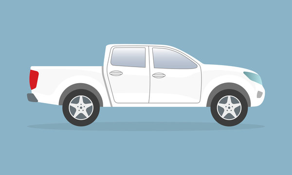 White pickup truck. Side view. Pick-up car or vehicle. Vector illustration.