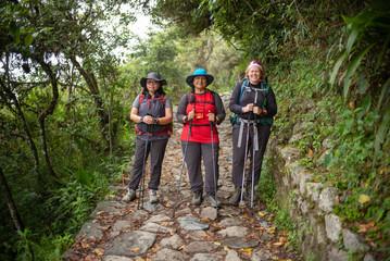 A portrait of senior women on a hike