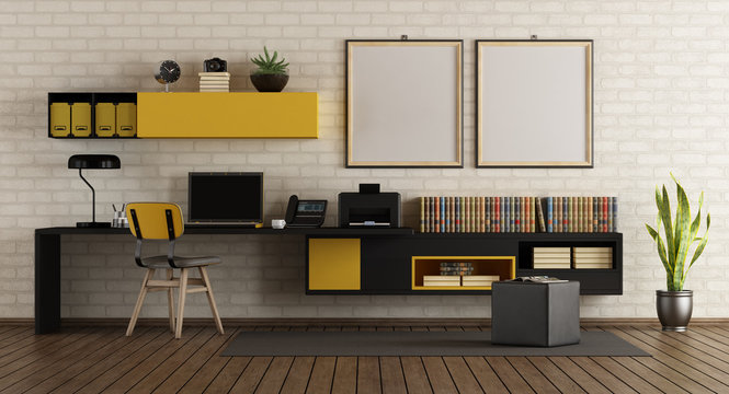 Modern home office with black and yellow furniture