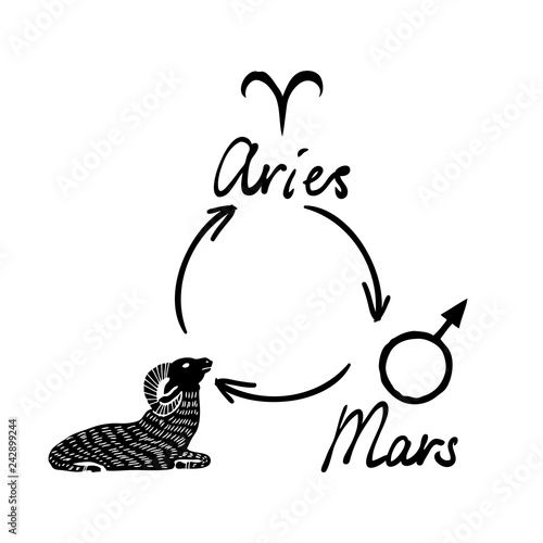 Astrology horoscope single zodiac symbol with sign Aries, Mars