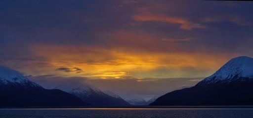 Sunrise on Turnagain Arm in Alaska