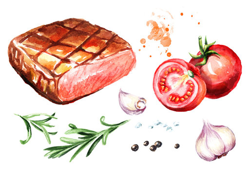 Grilled beef steak with salt, pepper, rosemary, garlic and fresh tomatoes set. Watercolor hand drawn illustration, isolated on white background