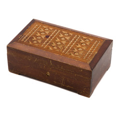 Vintage wooden scratched jewelry box on white background