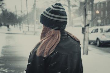 woman in a fur coat