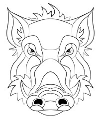 wild boar, wild pig head and with black nostrils / outlines, contour line