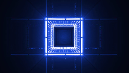 Neon cube tunnel. Blue abstract background. 3D Rendering