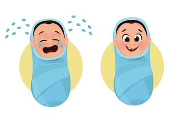 The baby cries and calm, happy baby. Baby in diapers. Vector illustration