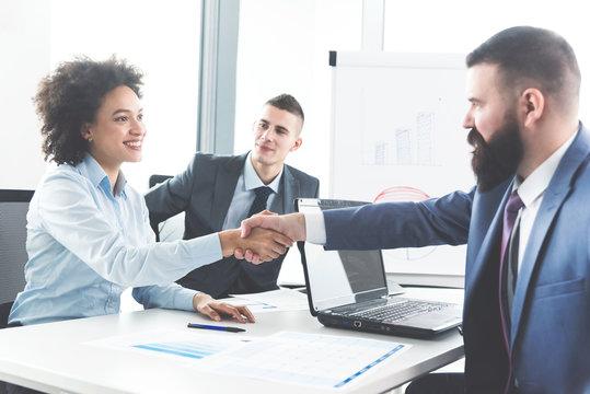 Businesspeople handshaking