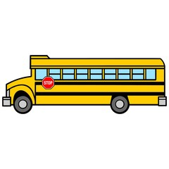 School Bus Driver Side - A vector cartoon illustration of a School Bus Driver Side.