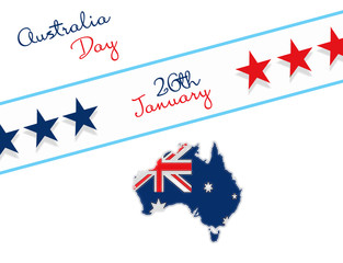 Happy Australia day 26th january lettering. Map of Australia with flag and stars. illustration on white background
