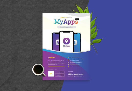 App Flyer Layout With Phone Mockup