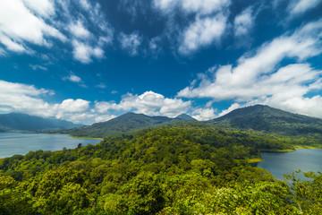 Panorama of Buyan and Tamblingan twin lakes on Bali island, Indonesia