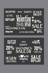 """Valentines day sale posters templates, shop glass banners design """"in love with shopping"""", offer sale set, special vintage kit for busieness"""