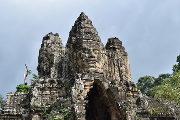 Theravada Buddhist kings faces at Bayon, Angkor Thom