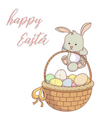 Easter motive, gray bunny with basket  and easter eggs on white background with text Happy Easter. Vector illustration.